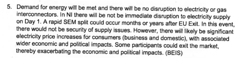 Snapshot of the paragraph in the Operation Yellowhammer papers relating to electricity price rises